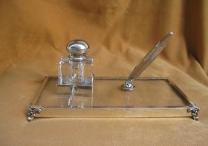 Gümüş Masa Üstü Hokka ve Kalemlik